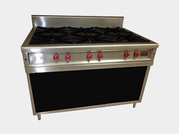 Estufa a gas de 6 puestos con mueble equipos y hornos j s a for Mueble para estufa